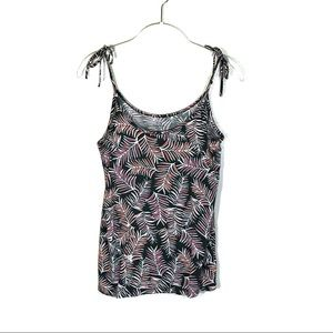 GAP Luxe tank olive with pink orange palm pattern